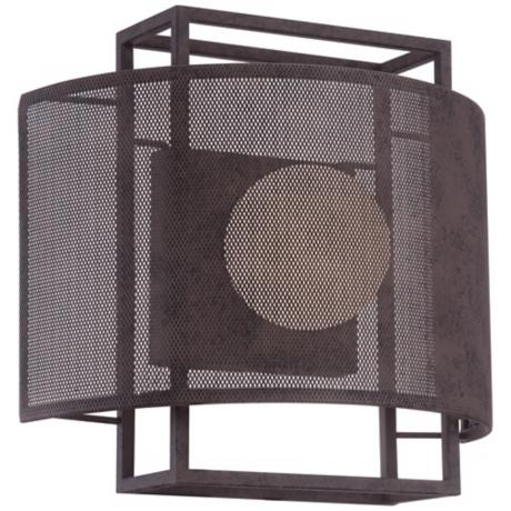 "Amp 10 3/4"" Wide Rust Mesh Wall Sconce"