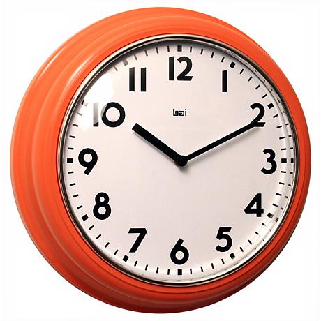 "Retro 12 1/2"" Wide Orange School Wall Clock"