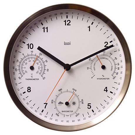 "Brushed Stainless Steel 10""W Weather Station Wall Clock"