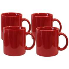 Set of 4 Fun Factory Red Mugs