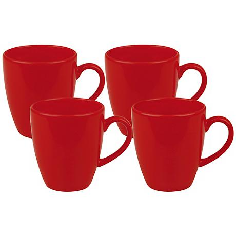 Set of 4 Fun Factory Red Cafe Latte Cups