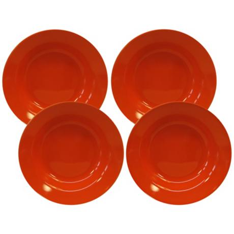 Set of 4 Fun Factory Orange Soup Plates