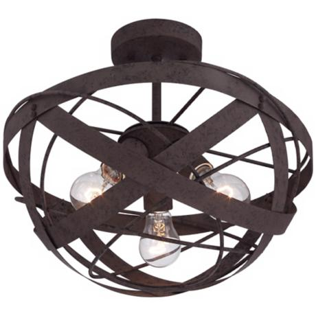 "Orbital Weave 15 3/4"" Wide Rust Metal Ceiling Light"