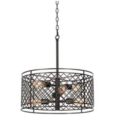 "Metal Lattice 6-Light 20 1/4"" Wide Bronze Pendant Light"