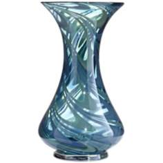 Swirl Blue Green Glass Vase