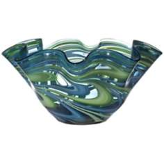 Swirl Blue Green Ruffle Glass Bowl