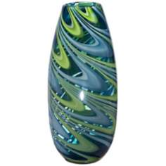 Swirl Narrow Blue Green Glass Vase