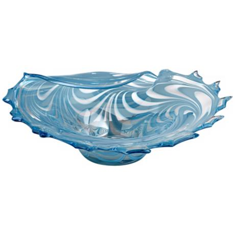Light Blue Swirl Folded Edge Glass Bowl