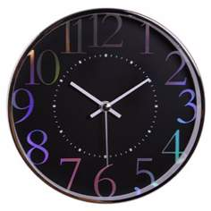 "Decomates Metallic Shimmer 7 3/4"" Wide Black Wall Clock"