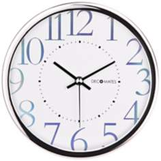 "Decomates Metallic Shimmer 7 3/4"" Wide White Wall Clock"