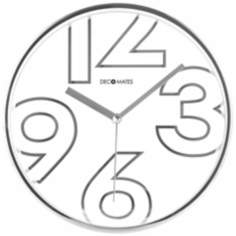 "Decomates Chic Shimmer White 9 3/4"" Wide Silent Wall Clock"