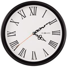 "Decomates Roman Numeral 10 1/4"" Wide Silent White Wall Clock"
