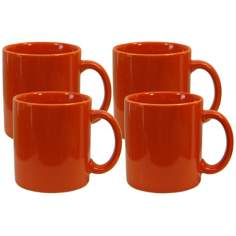 Set of 4 Fun Factory Orange Mugs