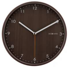 "Decomates Wood Tone 9 3/4"" Wide Silent Wall Clock"