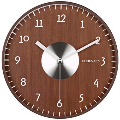 "Decomates Brown and Silver 9 3/4"" Wide Silent Wall Clock"