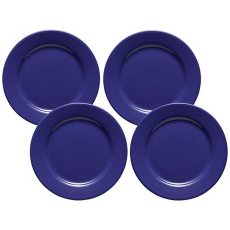Set of 4 Fun Factory Royal Blue Dinner Plates