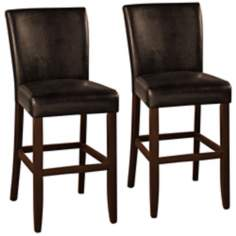 Athena Set of 2 Espresso Faux Black Leather Counter Stools