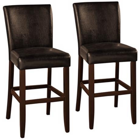 Athena Set of 2 Espresso Faux Black Leather Bar Stools