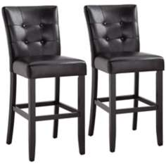 Amega Set of 2 Espresso Bonded Black Leather Bar Stools