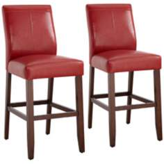 Set of 2 Carissa Red Bar Stools