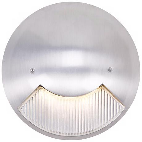 "Matte White 6"" Wide LED Round Outdoor Step Light"