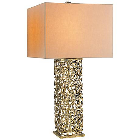 Currey and Company Confetti Antique Gold Leaf Table Lamp