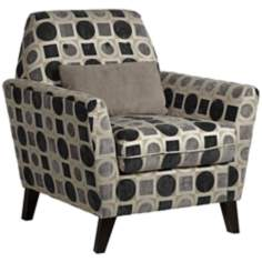 Roger Gray Geometric Armchair with Pillow