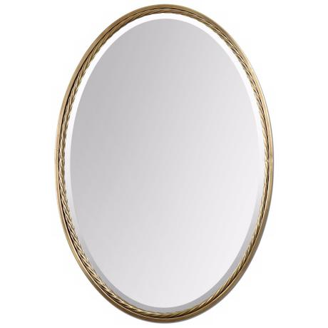"Uttermost Casalina 32"" High Brass Oval Wall Mirror"