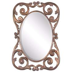 "Uttermost Vaccara 40"" High Antique Gold Wall Mirror"