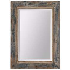 "Uttermost Bozeman 38"" High Slate Blue Wall Mirror"