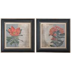 "Uttermost Set of 2 Vintage Fleur 29"" Square Wall Art Prints"