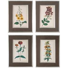 "Uttermost Set of 4 Floral Varieties 34""High Wall Art Prints"