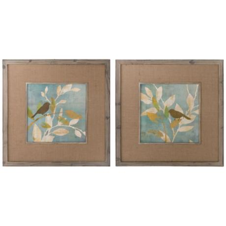 "Uttermost Set of 2 Turquoise Bird 32""W Wall Art Prints"