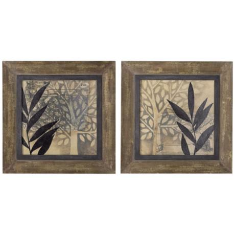 "Uttermost Set of 2 New World 29"" Square Wall Art Prints"