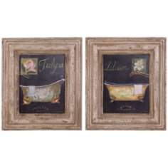 "Uttermost Set of 2 Bath Flowers 15"" High Wall Art Prints"