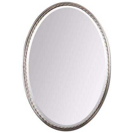"Uttermost Casalina 32"" High Nickel Oval Wall Mirror"