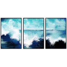 Ocean Waves Triptych Set of 3 Canvas Wall Art