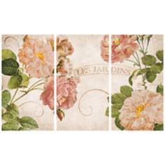 Les Jardins Triptych Set of 3 Canvas Wall Art