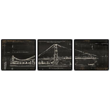 Brooklyn Bridge Triptych Set of 3 Canvas Wall Art Prints