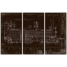Locomotive Triptych Set of 3 Railroad Wall Art Prints