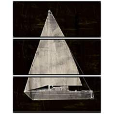 Sailboat Triptych Set of 3 Decorative Wall Art