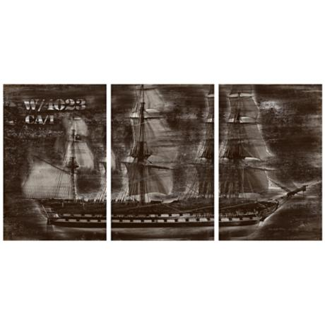Vintage Ship Triptych Set of 3 Canvas Wall Art