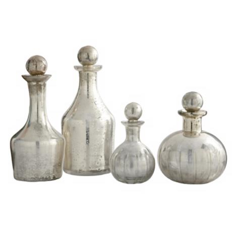 Set of 4 Blythe Small Mercury Glass Decanters