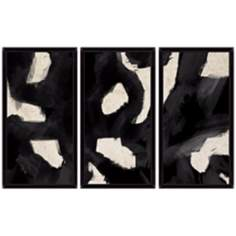 Black Swirls Triptych Set of 3 Abstract Wall Art