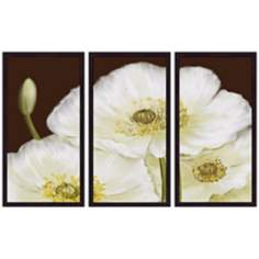White Poppies Triptych Set of 3 Flower Wall Art
