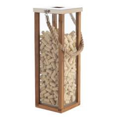 Tate Large Wood Steel and Glass Candle Lantern