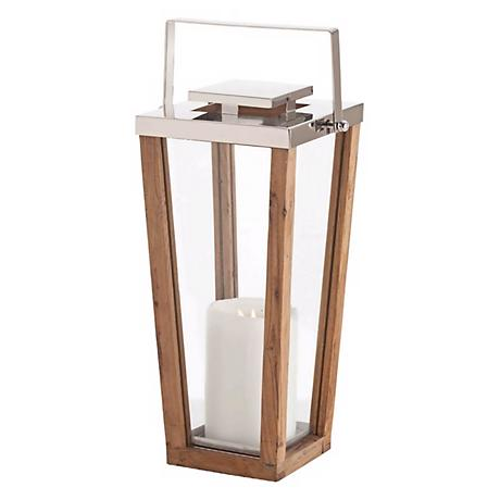 Zeke Small Wood Steel and Glass Pillar Candle Holder Lantern