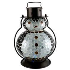 "Color Changing Mosaic 11"" High LED Penguin Holiday Lantern"