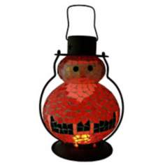 "Color Changing Mosaic 11"" High LED Santa Holiday Lantern"