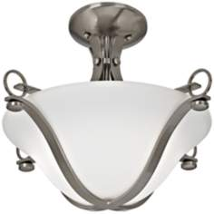 "Brushed Nickel 17"" Wide White Glass Ceiling Light"